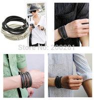 New Fashion Leather Rivet Bracelet For Women/Men Multi Colors Black Fine Rivet Wrapped Faux Leather Bracelet Jewelry