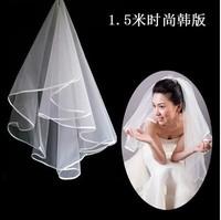 2014 hot sales Graceful 1 Layer Wedding Veil Satin Edge Bridal Mantilla White Headdress 1.5 meter