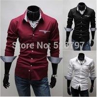 T1134 HOT PROMOTION 2014 Spring Mens Slim Fit dress shirts Long sleeve Casual patchwork Shirt for Men Korean pocket men's Camisa