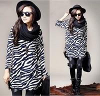 2014 Ladies Fashion Zebra Stripes round neck T-Shirt