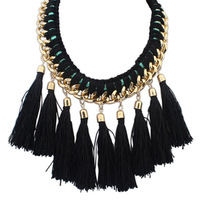 European and American Fashion Bohemian Coffee Tassel Statement Bib Necklace For Women Jewelry Accessories Free Shipping#110886
