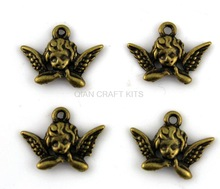 set of 25pcs cupid angel wing antique bronze lead and nickle free zinc alloy pendant charm