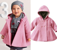 Free shipping new baby girl coat pure pink warm winter children outwear trench fashion kids clothing wholesale and retail