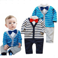 2014 Autumn and spring Baby Boy Kids Romper Gentleman long sleeve climb clothes Sets baby clothing for boys kids baby rompers