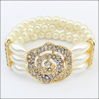 2014 Trendy Fashion White Pearls Charm Bracelet Rhinestones Rose Flower Multilayer Elastic Bangle For Women Free Shipping#111118