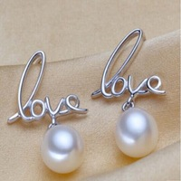 free shipping 8mm round cultured freshwater pearl ear stud earring  Women's Gift B13#