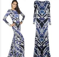 High Fashion Top Quality Women's Charming Print Jersey Silk Maxi Dress Designer Long Dress Plus size
