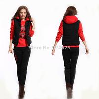 winter casual fashon crop top Fleece sport suit HOODIES 3 piece sets womens costume conjunto saia e blusa tracksuits clothing