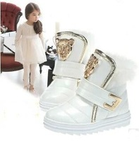 free shipping 2014 children fashion snow boots kids martin boots rabbit fur sneakers skateboarding leopard head shoes