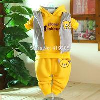 Children's clothing thickening sweatshirt piece set baby winter set wadded jacket outerwear winter baby clothes