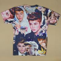 New European style Men's 3D print Unisex Justin Bieber T-Shirt Casual Short Sleeve Space Shirt Sport T Shirt Fashion tops tees