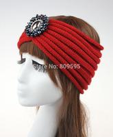 Free shipping Retail Boho Chunky Knitted Headband Ear Warmer Bohemian Headwrap Turban Beaded Headband Turban