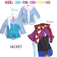 Free shipping Retail New 2014 Autumn Frozen Elsa Anna Jacket,Fashion style Elsa Anna with hair,Lovely Winter children girls coat
