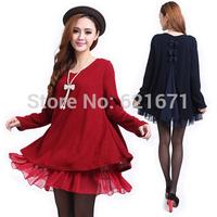 2014 Autumn New Women Casual Fashion Chiffon Patchwork Long Sleeve Loose Back Bowknot Knitted Dress L/XL/2XL/3XL/4XL Plus Size