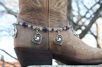 BB-017 60pc/lot free shipping  toggle buckle handmade beaded heart charm women crystal boot jewelry