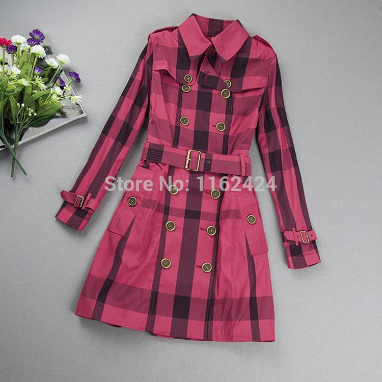 Free shipping Brand new Autumn women trench coat office lady slim plaid coat female waistband overjacket double breasted(China (Mainland))