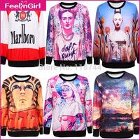 2014 Men/Women Hot Selling Clothing Hoodies Couple Hoodies Printed Pullovers Sweatshirt 3-1