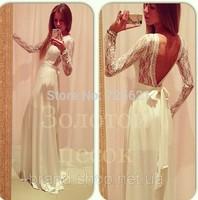 2015 Autumn White Lace Patchwork Backless Sexy Club Party Dress Bandage Maxi Elegant Bodycon Longo Vestidos de festa Renda