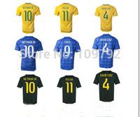2014 world cup jersey yellow blue green DAVID LUIZ NEYMAR JR OSCAR T.SILVA Marcelo soccer jersey Football shirt Players version