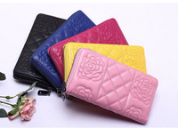 New arrive brand long wallet stereoscopic rose flower patterned genuine leather wallet women purse with zipper coin purse
