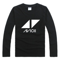 2014 Black cotton 100% rock t-shirt long-sleeve avicii band t-shirt basic shirt plus size available