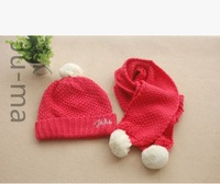 Baby qiu dong the day hat scarf suit Europe and the United States big female children warm hat turtleneck cap ball ball