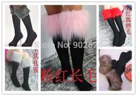 5 color Women soft apricot faux fur knee high cotton socks boot cover leg warmer  fashion new arrive