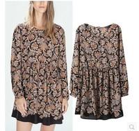 New Arrival 2015 Fashion Womes /Ladies Vintage Plant Print One-piece blouse Dress  Dresses SML