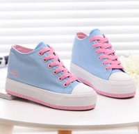 New hight cut canvas shoes for women height  increasing casual shoe platform shoes women student sneakers size34-39 s1118
