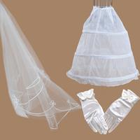 gloves bridal veil panniers wedding accessories formal dress triangle set
