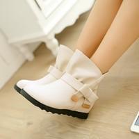 free shipping 2014 autumn short boots flat heel low-heeled boots platform martin boots