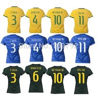2014 World Cup woman Girl Female yellow blue green jersey DAVID LUIZ NEYMAR JR OSCAR T.SILVA Marcelo Football shirt best quality