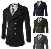 2014 new winter men's metal double-breasted wool coat jacket and long men Coat MC013