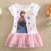Baby Girls Frozen Princess Dresses Hot 2014 Summer Girl's Dress Children's Clothing White Mesh Dress Kids Clothes 1 Pcs Retail
