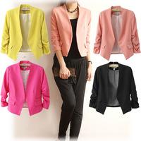 Top Sale 2014 Tops blazer women coat jacket Foldable outerwear coats jackets Autumn basic jacket suit blazers overcoat