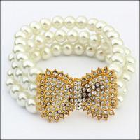 Cute Design 2014 Fashion Women Sweet Rhinestones Bow Bracelet Jewelry Free Shipping#111116