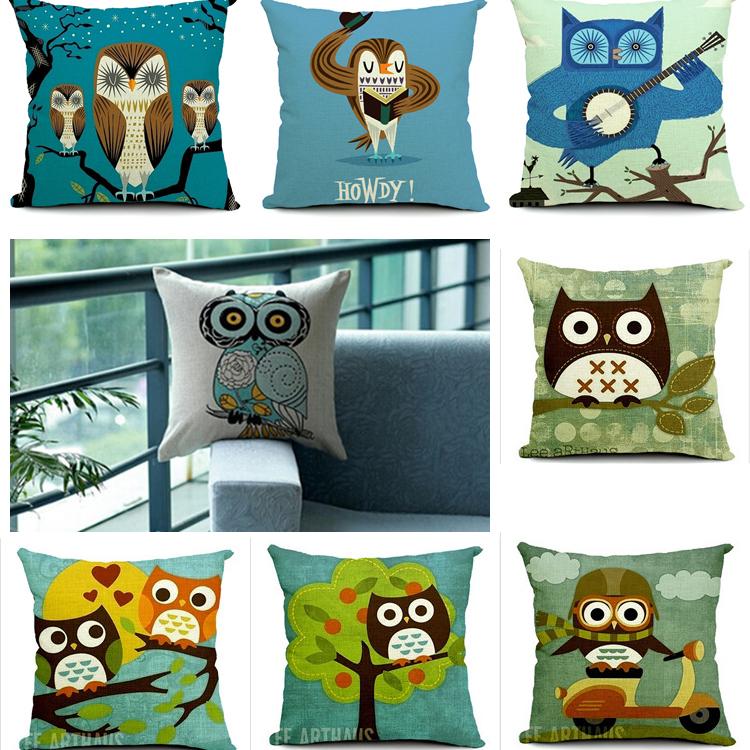 Owl style HoWdy cushion covers linen The Owl Kingdom decor pillwcase as wise as owl decor car chair cushion covers(China (Mainland))