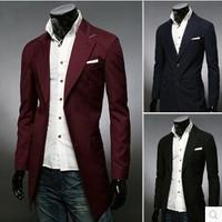 2014 new winter men's single-breasted long section of fashion casual windbreaker jacket Coat MC011