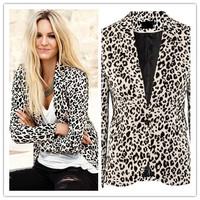 Plus Size XS-XXL 2014 new women Fashion leopard blazers jacket Elegant brand Women Work Casual Wear free shipping