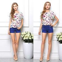 Cheap Clothes China Blusas Femininas Blouse Short Sleeve O-neck 20 Patterns Printed Woman Clothes Summer Chiffon Top  NZH055