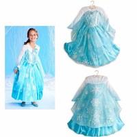 2014 New Autumn Frozen Dress Long Sleeve Fashion Snowflake Embroidery Princess Girls Dresses Girl Elsa Dress With Cloak 1366