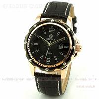 MINGEN SHOP - New Men Black Gold Case Black Dial Business Quartz Date Faux Leather watch Q0652