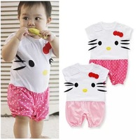 2014 Summer Short  Cartoon 2 Style Baby Romper Dot & Solid Colors Children's  Cute Romper kItty design baby Girls clothing 106