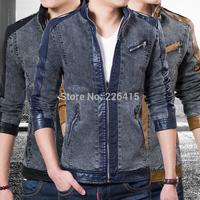 Top Quality M-XXXL Men Outerwear PU Patchwork Men Jacket Slim Fit Stand Collar Jacket Men Denim Patchwork Casual Jacket 3 Color