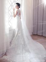 Diamond Bridal lace halter Slim retro long trailing fishtail wedding dress