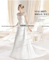 Lace flowers word shoulder sexy bride wedding dress Qi perspective