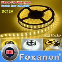 Foxanon Brand Double Row Waterproof 5050 Led Strip Light 120Led/M 5M DC 12V  Flexible Lamps White/Warm White  Lighting  5M/Roll