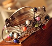 Wholesale New Style Fashion Women Bracelet Jewelry Candy Color Mulitlayer Vintage Alloy Metal Bronze Bracelet Bangles FB0257
