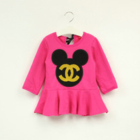 2014 New Arrival Party dresses Girls Mickey dress Winter Kids Casual dress Baby Party Dresses Cartoon Clothing for 2-7T