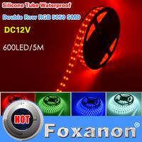 Foxanon Brand RGB 5050 Double Row Waterproof Led Strip Light 120Led/M 5M 600Leds DC 12V Flexible Lamps Lighting 5M/Roll